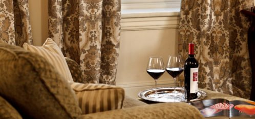 Lounge Area with Glasses of Wine