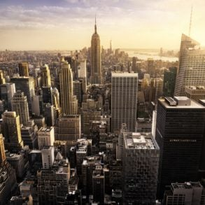 View of the New York City skyline on weekend getaways from NYC