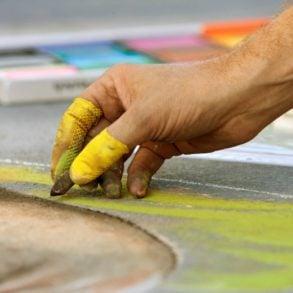 Chalk artist at the Allentown ArtsFest