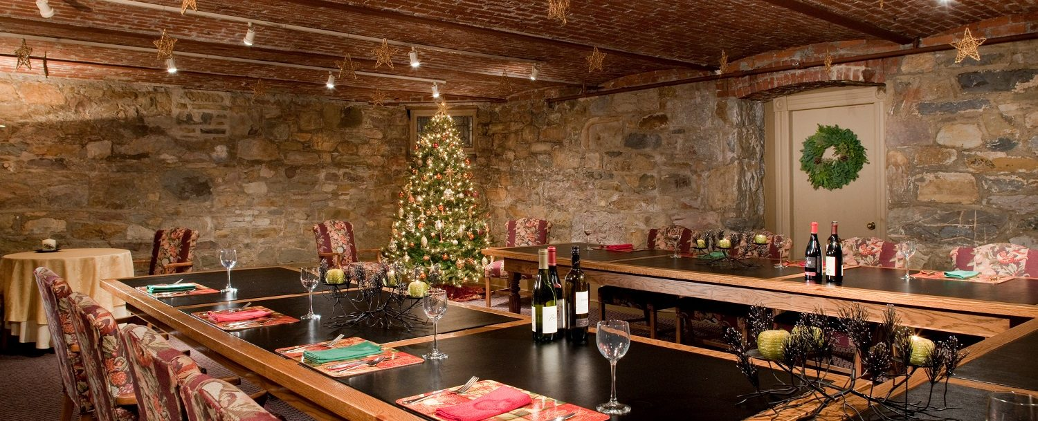 Christmas time in the Banquet room at Sayre Mansion